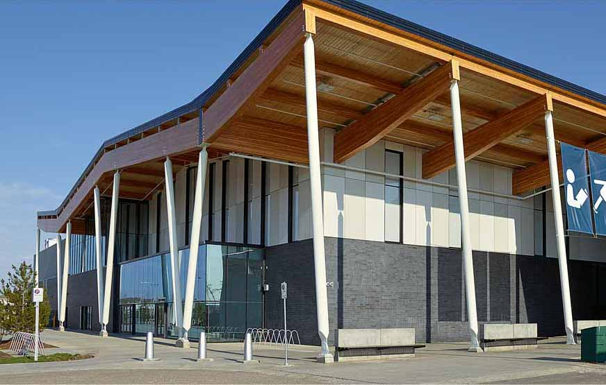 Side view of Meadows Community Rec Centre